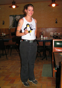 """Yes, she was the waitress in Outdoor Inn in Jarbidge I told: """"Do not worry about me, I am experienced hiker"""". Now with Tux"""