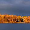 2009-10-24 twin lakes dark sky shore panorama, East Twin.