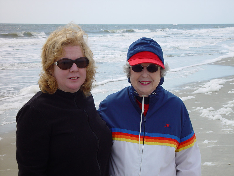 Amy and Mom at the beach.