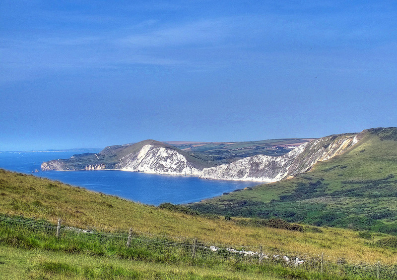 Worbarrow Bay with Portland and Weymouth in the distance.
