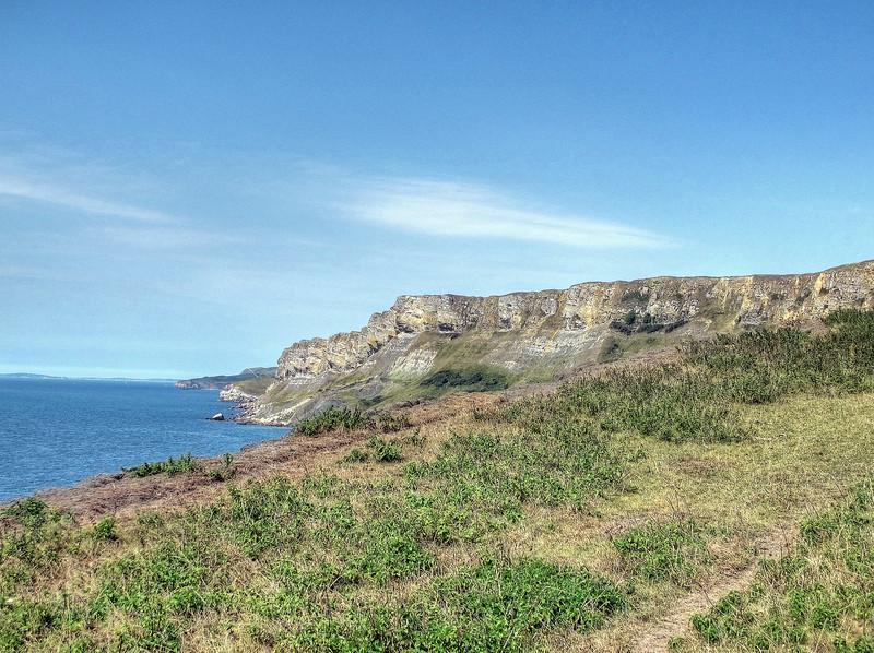The cliff top path back towards Worbarrow bay along range walks cleared of ordnance.