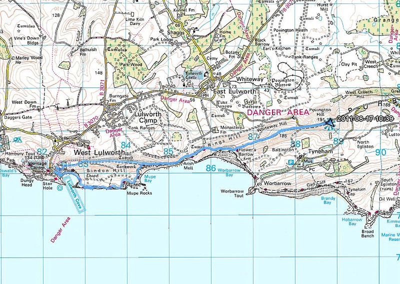 The map of the walk courtesy of Ordnance Survey.