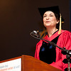 Cindy Chew<br /> 5/16/15<br /> Dean Elizabeth Watkins gives welcoming remarks at the UCSF Graduate Division Commencement held at Robertson Auditorium on Saturday.