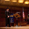 Cindy Chew<br /> 5/8/15<br /> Paul Mello is introduced as one of the student speakers at the School of Pharmacy Commencement at Davies Symphony Hall on Friday.