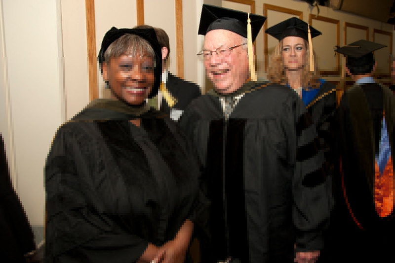 Cindy Chew<br /> 5/8/15<br /> Faculty gather before the School of Pharmacy Commencement at Davies Symphony Hall on Friday.