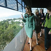 Cindy Chew<br /> 10/19/05<br /> California First Lady Maria Shriver looks out at the view of the The City from the De Young Museum tower during her tour on Wednesday afternoon.