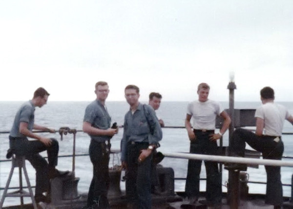 Keith Murphy, Roger Bradford, John DeBono, Ray Fruge, John Donaldson, and ?. On board the USS Henrico somewhere between October 1996 and April 1967.