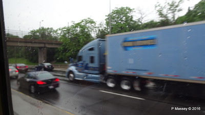 Rain truck I 90 by CTA Blue Line ORD to Clark-Lake Chicago 01-06-2016 07-57-19