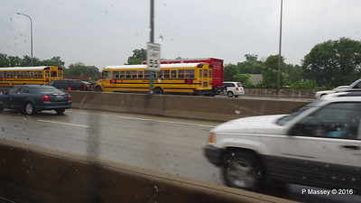 Rain School Bus I 90 by CTA Blue Line ORD to Clark-Lake Chicago 01-06-2016 08-02-34