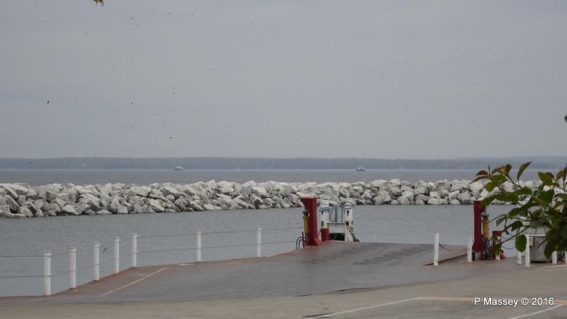 Distant EYRARBAKKI & ROBERT NOBLE Washington Island Ferry from Northport WI PDM 24-05-2016 11-14-47