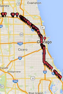 Route through Chicago 31 May 2016