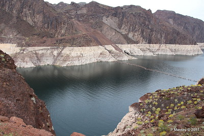 Very Low Water Level Colorado River above Hoover Dam from Arizona Side 31-03-2017 09-12-20