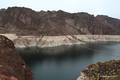Very Low Water Level Colorado River above Hoover Dam from Arizona Side 31-03-2017 09-12-19