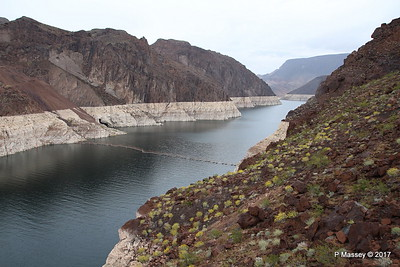 Very Low Water Level Colorado River above Hoover Dam to Lake Mead from Arizona Side 31-03-2017 09-12-22