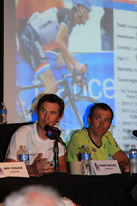 Frank Schleck being asked about racing in Colorado