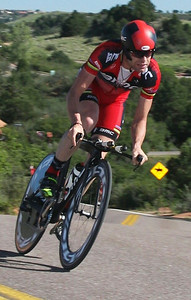 Cadel Evans, 2011 Tour de France winner, on practice run prior to Prologue in Colorado Springs