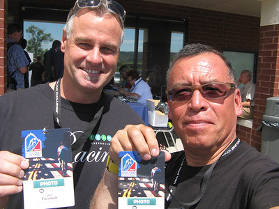 Team Evergreen Racing Media Consultant Jon Farinholt and Peter Morales of Carbonfibre Photo obtain their USA Pro Cycling Challenge press passes