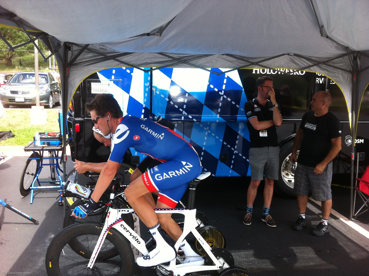 Dave Zabriske warming up with Tommy D.  Jonathan Vaughters to the right.