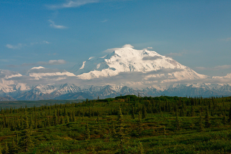 Mt. McKinley in the afternoon sun, seen from Wonder Lake Campground. The view was spectacular but we had to put up with a lot of mosquitos!