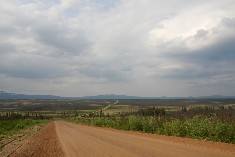 The desolate road north from Fairbanks to the Arctic Circle