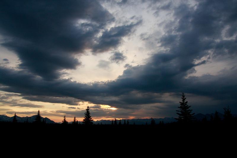 The midnight sky in Alaska in June