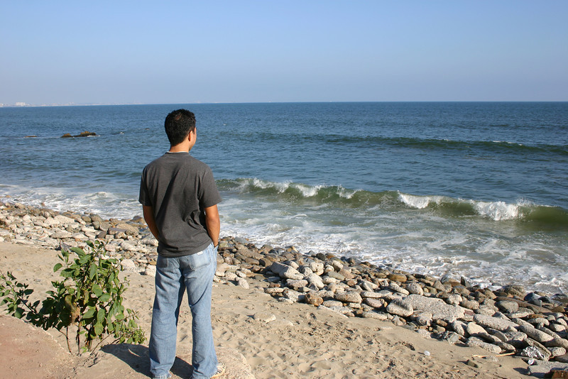 Overlooking the Pacific Ocean on a Malibu beach