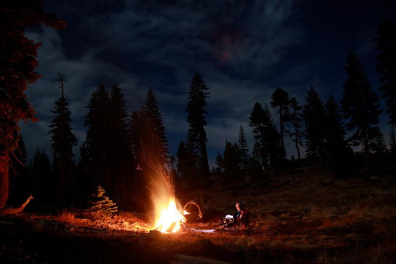 Enjoying a big bonfire in the Sierras