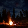 Enjoying a big bonfire in the Sierras