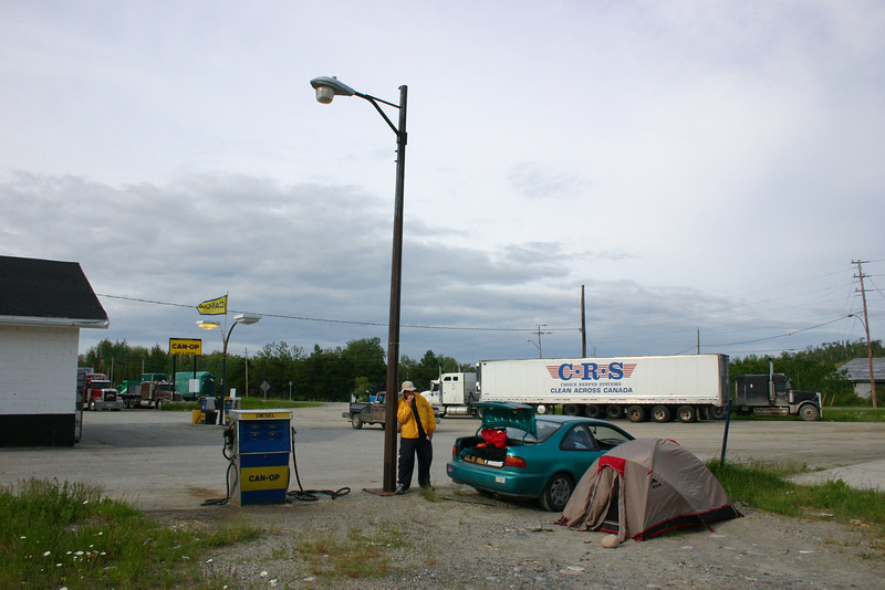 Gas stations make great campsites when you're driving hundreds of miles across the prairie!