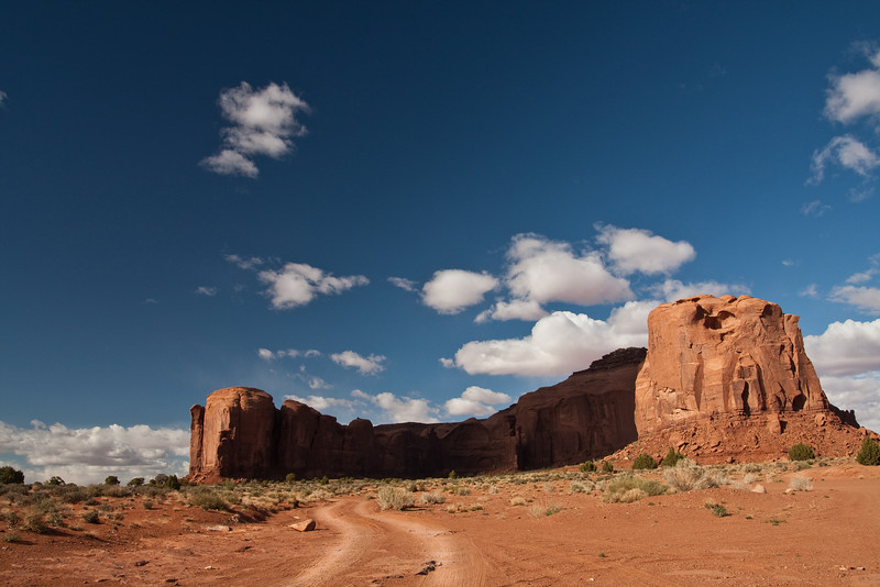 A lonely dirt road in Monument Valley, AZ