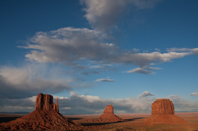 Creeping shadows at sunset in Monument Valley