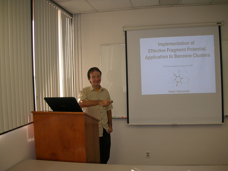 Vitalii presenting his thesis.
