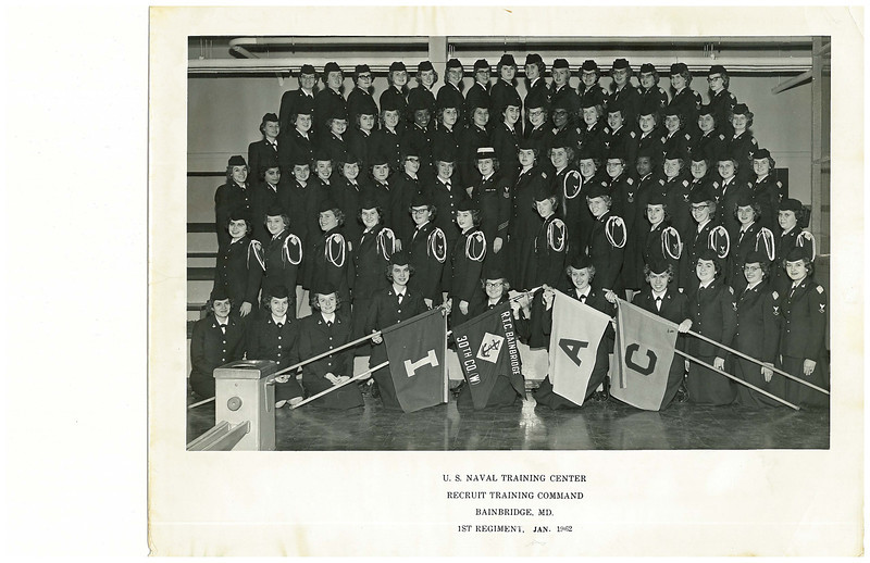 USNTC BAINBRIDGE WAVES - Company 30, 1st Regiment January 1962.<br />  <br /> These two photographs belonged to my mother, Eva Dale Nolan (AKAN). She appears in the Company 31 image, second row from the top, second service member from the right. <br /> <br /> I was browsing the internet to learn more about USNTC BAINBRIDGE and discovered another Bainbridge graduate on your website forum, looking for photographs and service members from this time period. <br /> <br /> Thank you, <br /> <br /> Brian P Hopkins<br /> <br /> P.S. If there is anyone from Company 30 - 1st Regiment, January 1962 that can identify anyone in this photo, or who can give further information about the history of this company, please e-mail me . . . Tony Lupacchino TE(RM)2.