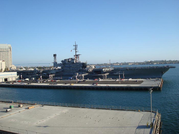 Members of the USO San DIego (and 2000 others) depart San Diego with a view of the MIdway.