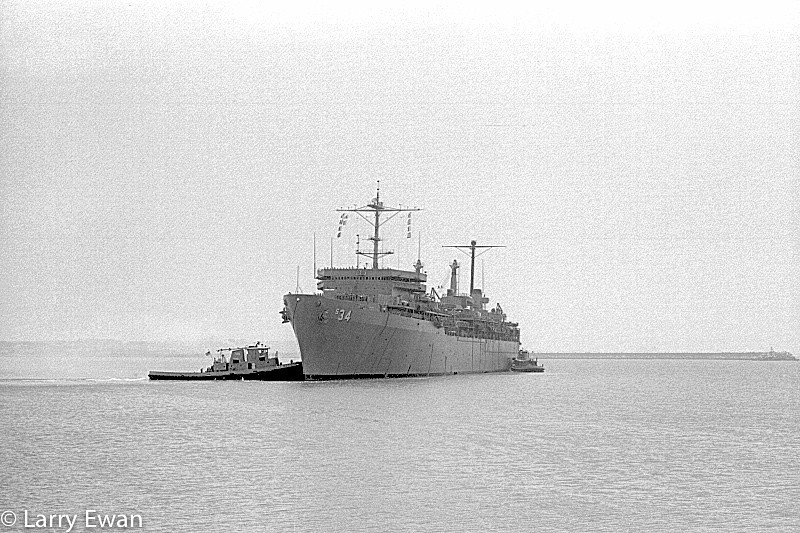Departure Day from FBM Site 2, Rota Spain. USS Canopus (AS-34) backing into the turning basin to get the pointy end headed for America. Olympus OM-1N with 70-210 f/4 zoom on Tri-x shot at ISO 320. 10 June 1979.