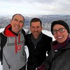Selfie!  Atop the mountain with Lake Zurich in the background on the right and Zurich in the background on the left