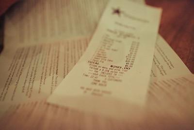 Underbelly, Houston, TX, 2012  A bill split between 5 people... not too bad considering we were full as fuck.
