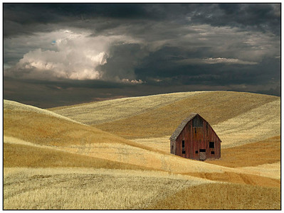 Barn, wheat and clouds