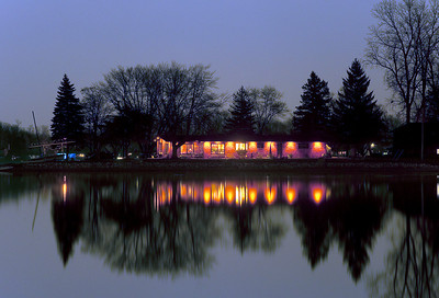 House on Whitmore Lake as nightfall sets in.
