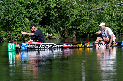 Reigning kink Andy Triebold (bow) paddles in the lead with stern partner Steve Lajoie during the AuSable Canoe Marathon in Oscoda, MI.