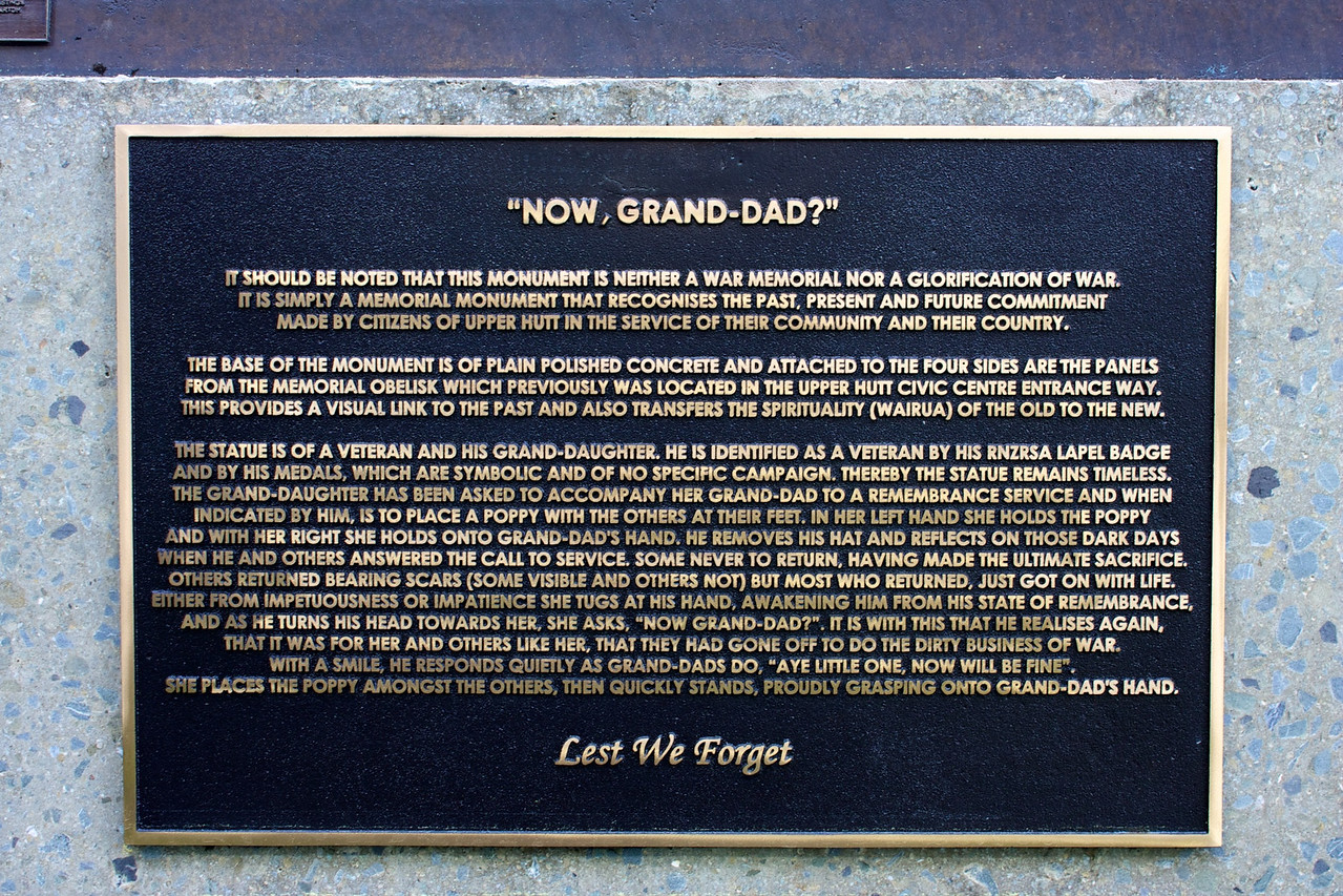 """Now Grand Dad?""<br /> <br /> Upper Hutt City Council Building Aug 2010<br /> <br /> This goes with the Grand dad/Grand daughter statue."
