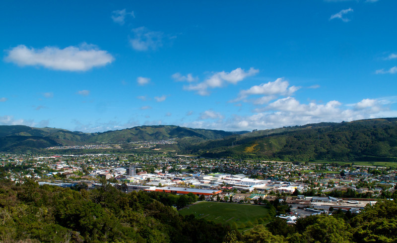 Overlooking Upper Hutt from a lookout five minutes walk from the end of a road in Kingsley Heights, Upper Hutt.