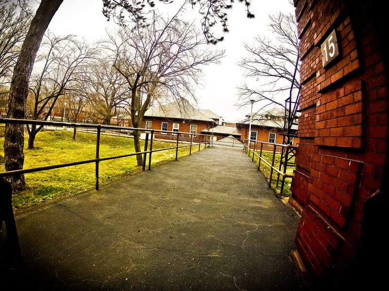This is the walkway in front of the Chapel leading towards the old outpatient treatment buildings.