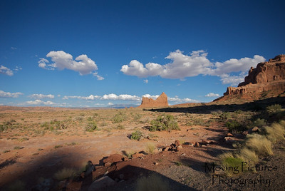 Late day sun in Arches National Park, Moab, Utah