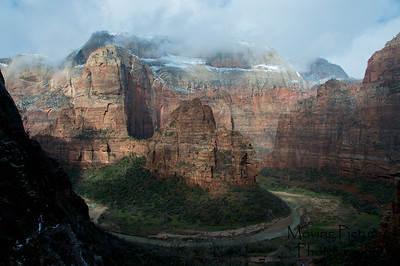 Zion National Park - Observation Point Trail - highest peak on left in light is where we are headed next