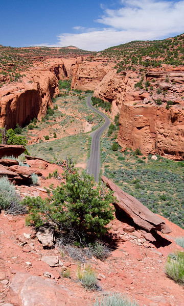 western section of the Burr Trail, it is paved from Boulder to the top of the switchbacks, then becomes a graded road all the way to Lake Powell