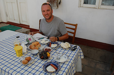 Traditional Uzbek breakfasts at our B&B are delicious and just keep on coming!