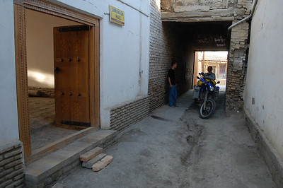 Unloading the bikes before trying to get through the door of the B&B in Bukhara.