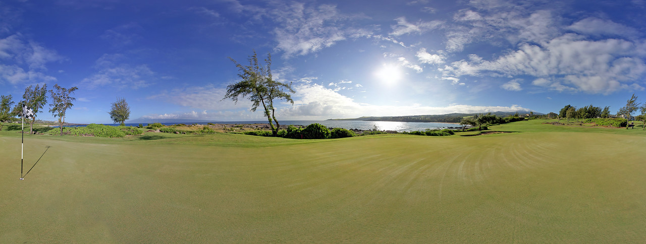 "Early morning on the number 4 green at the beautiful Kapalua Bay Course - Maui, Hawaii.   Click on the link to load the 360 pano view by Joe West Photography.      <a href=""http://360pano.org/baygreen/4.htm"">http://360pano.org/baygreen/4.htm</a>"