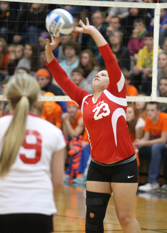 . VVS\' Selena Hass (23) puts a shot over the net  in the first game of the match against Oneida at Oneida on Wednesday, Dec. 4, 2013. VVS won the first game 25-18.